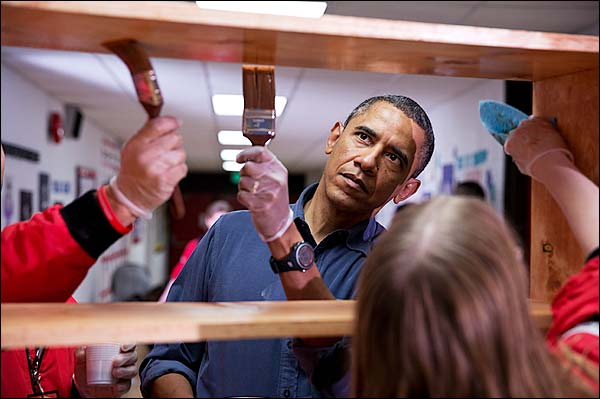 President Obama at National Day of Service Event Photo Print for Sale
