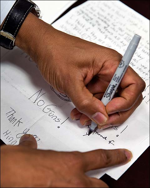 President Obama Signs Letters from Children Photo Print for Sale