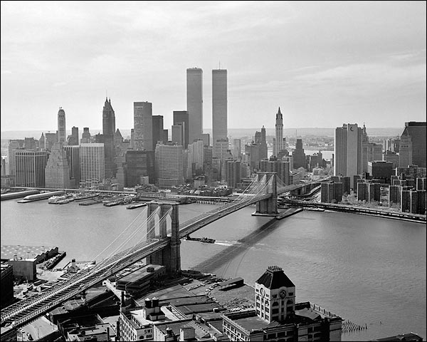 View of Manhattan Skyline and Brooklyn Bridge 1978 Photo Print for Sale